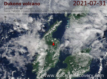 Satellite image of Dukono volcano on  1 Aug 2021
