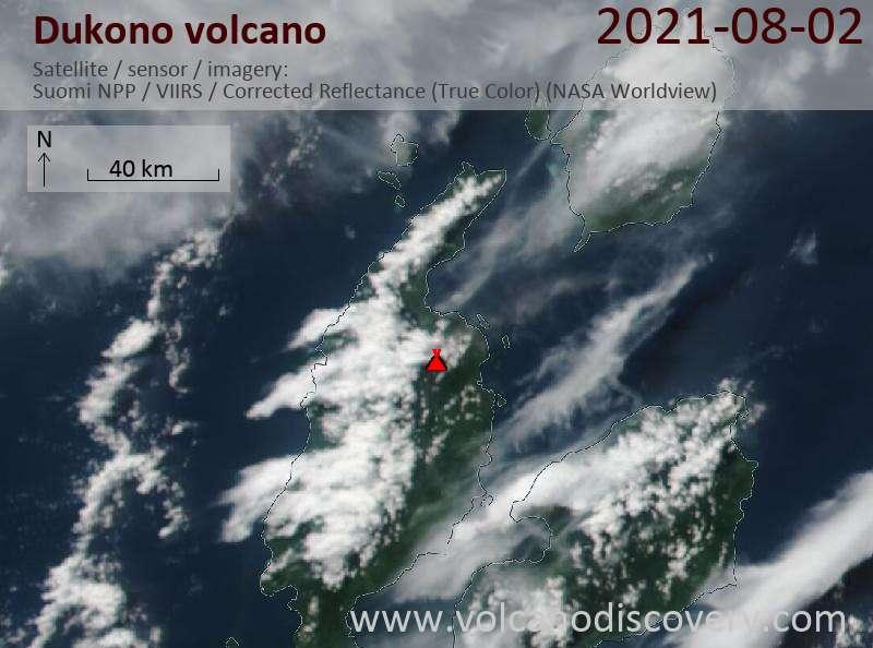Satellitenbild des Dukono Vulkans am  2 Aug 2021