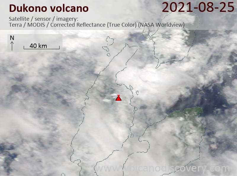 Satellitenbild des Dukono Vulkans am 25 Aug 2021