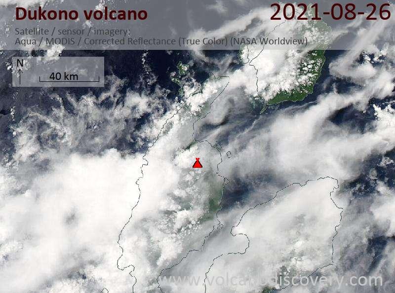 Satellitenbild des Dukono Vulkans am 26 Aug 2021