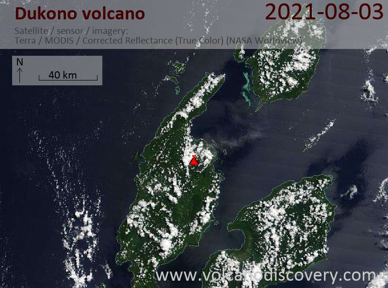 Satellitenbild des Dukono Vulkans am  4 Aug 2021