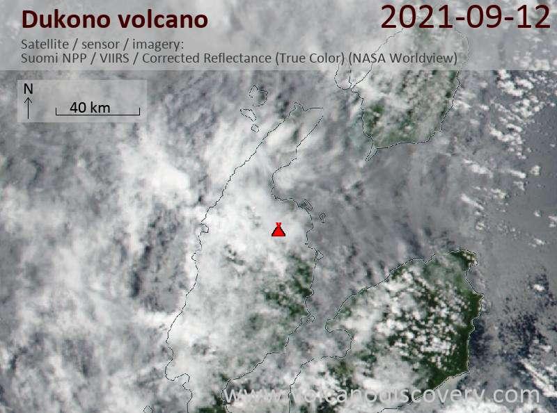 Satellitenbild des Dukono Vulkans am 13 Sep 2021
