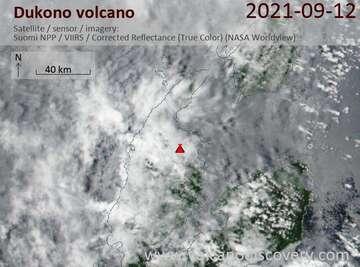 Satellite image of Dukono volcano on 13 Sep 2021