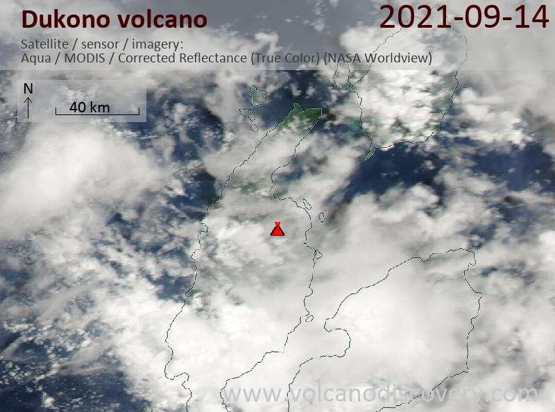 Satellitenbild des Dukono Vulkans am 14 Sep 2021