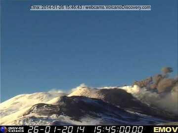 Ash plume at New SE crater (Montagnola webcam, INGV Catania)