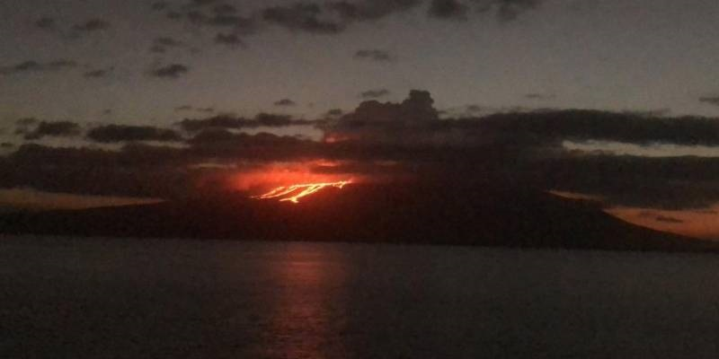 Lava flows as seen from the Bolivar Channel (image: Galapagos National Park)