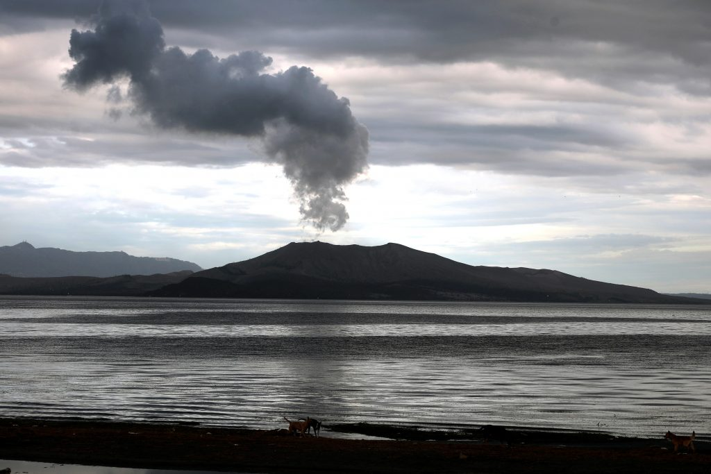 Sulfur dioxide (SO2) emissions from Taal volcano on 5 February (image: PHIVOLCS)