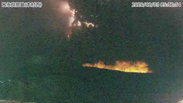 Eruption of Kuchinoerabujima volcano on 3 February (image: Twitter)