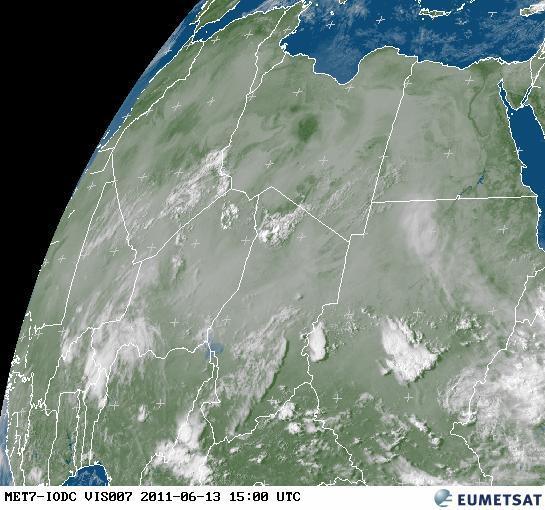 Meteosat satellite image from 13 June, 15h00 UTC showing the volcanic ash plume over Sudan and into Egypt. (source: http://oiswww.eumetsat.org/)