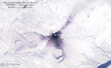 Ash deposits from Karymsky volcano on 18 April (image: @CultureVolcano/twitter)