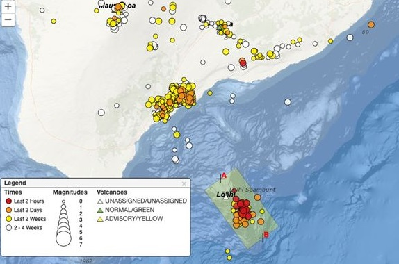 Earthquakes swarms recorded at Loihi volcano on 11 May (image: @GeoGolfHawaii/twitter)
