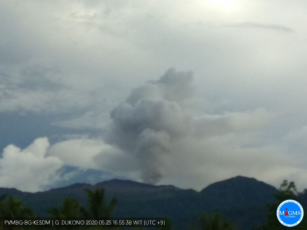 Ash emissions from Dukono volcano yesterday (image: PVMBG)