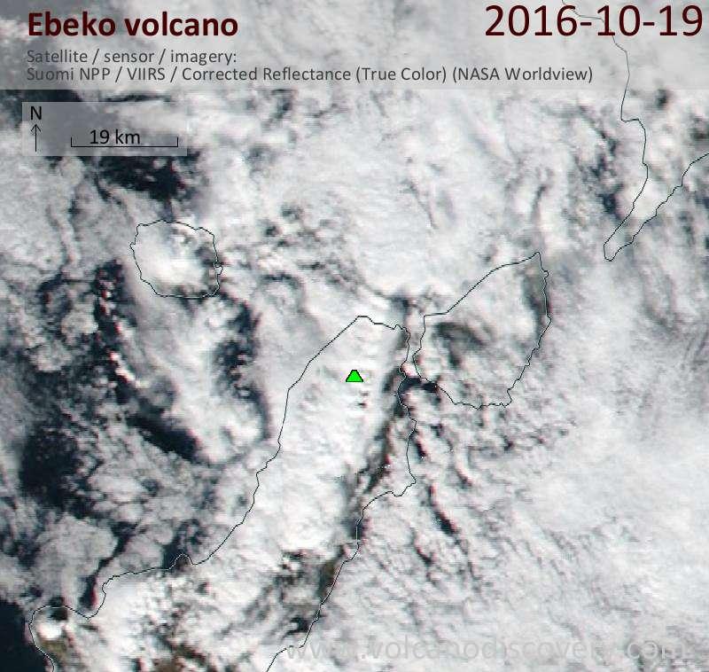 Satellite image of Ebeko volcano on 19 Oct 2016