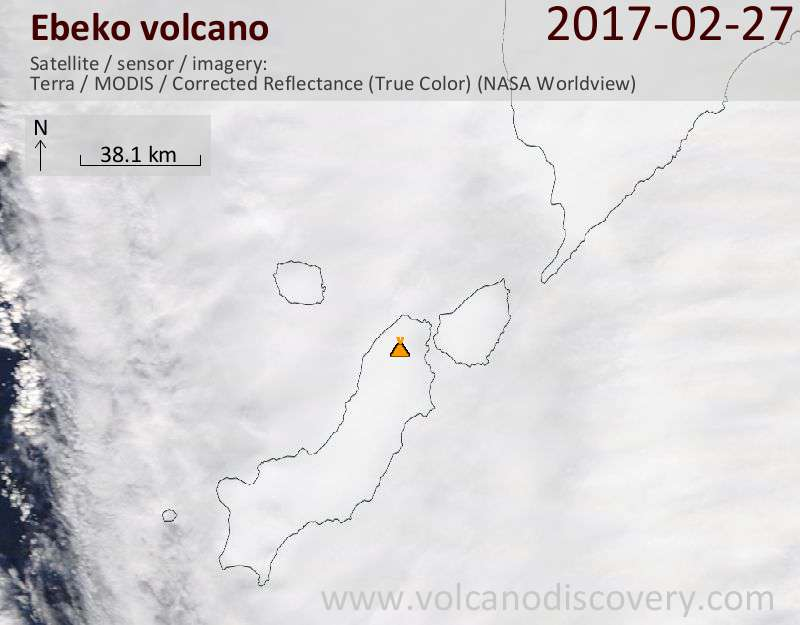Satellite image of Ebeko volcano on 27 Feb 2017