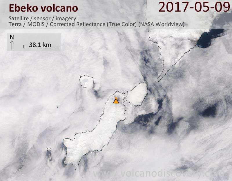Satellite image of Ebeko volcano on  9 May 2017