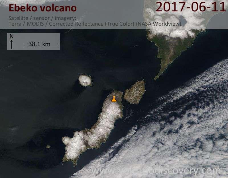 Satellite image of Ebeko volcano on 11 Jun 2017