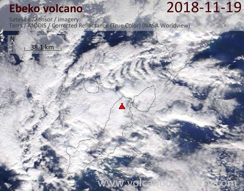 Satellite image of Ebeko volcano on 19 Nov 2018