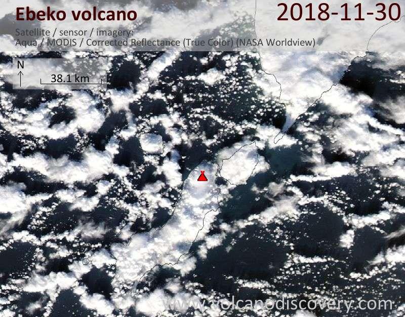 Satellite image of Ebeko volcano on 30 Nov 2018