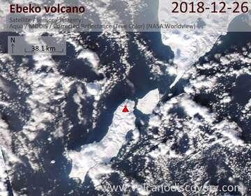 Satellite image of Ebeko volcano on 26 Dec 2018