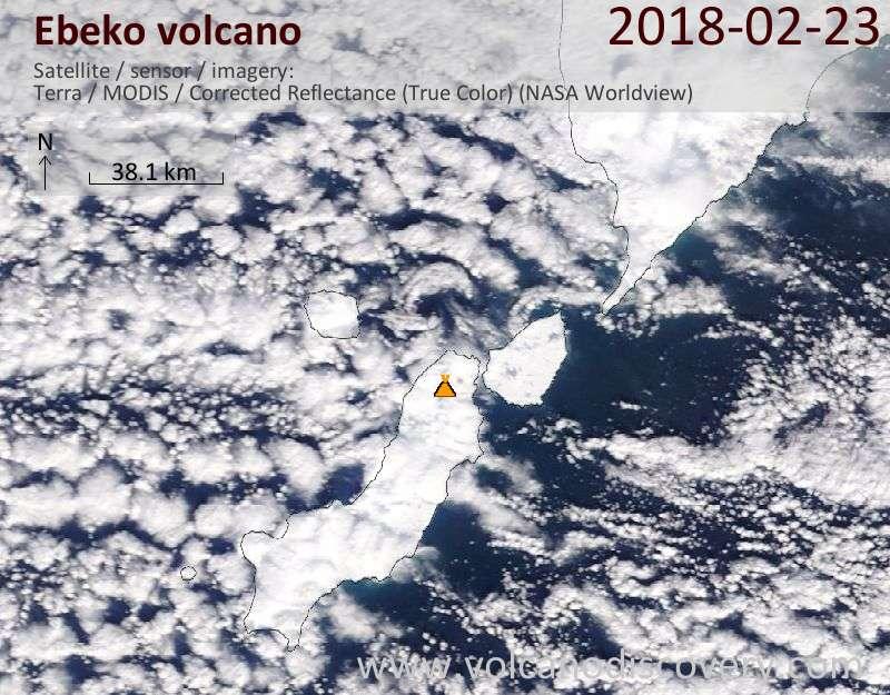 Satellite image of Ebeko volcano on 23 Feb 2018