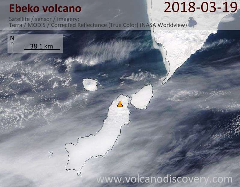 Satellite image of Ebeko volcano on 19 Mar 2018