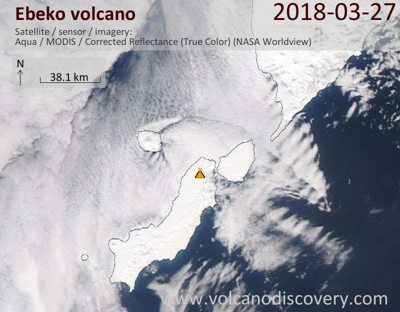 Satellite image of Ebeko volcano on 27 Mar 2018