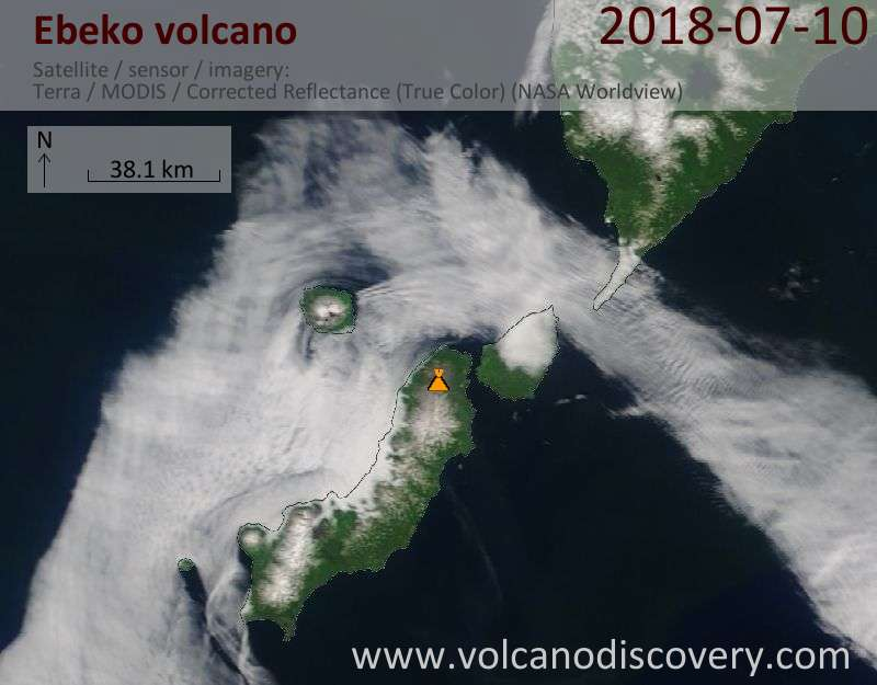 Satellite image of Ebeko volcano on 10 Jul 2018
