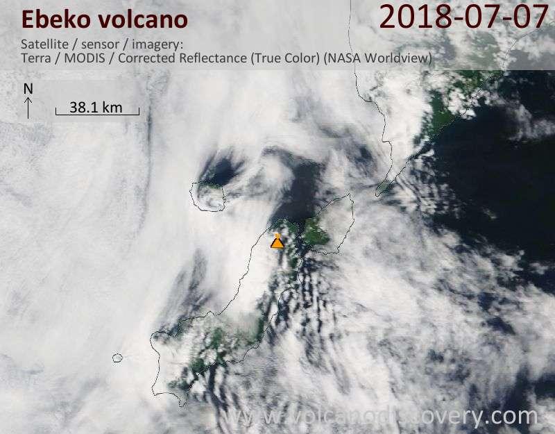 Satellite image of Ebeko volcano on  7 Jul 2018