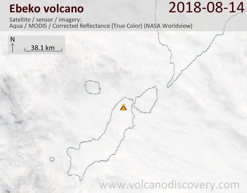 Satellite image of Ebeko volcano on 14 Aug 2018