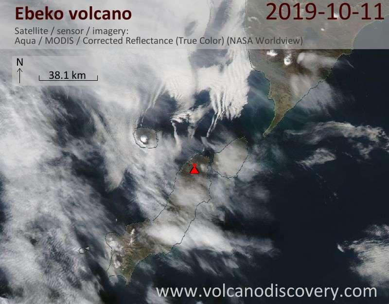 Satellite image of Ebeko volcano on 11 Oct 2019