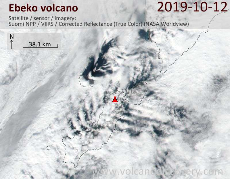 Satellite image of Ebeko volcano on 12 Oct 2019