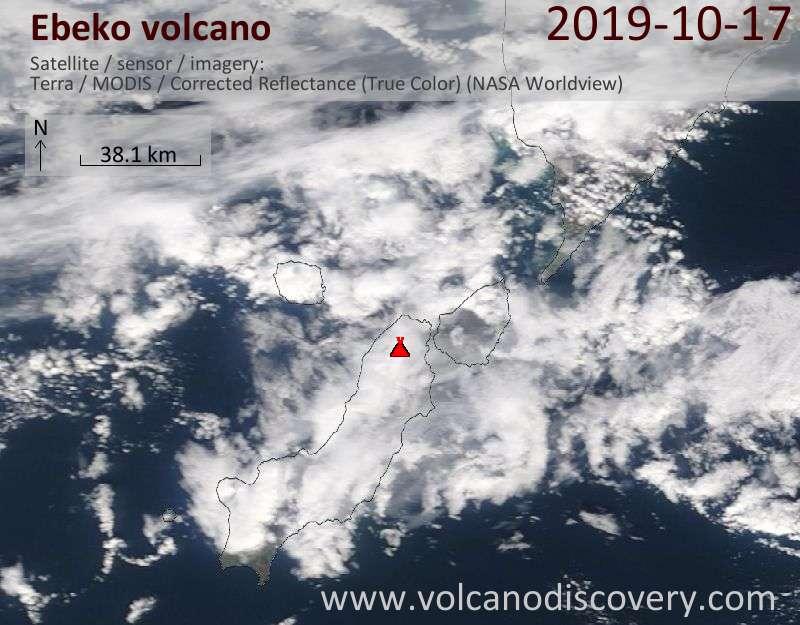 Satellite image of Ebeko volcano on 17 Oct 2019