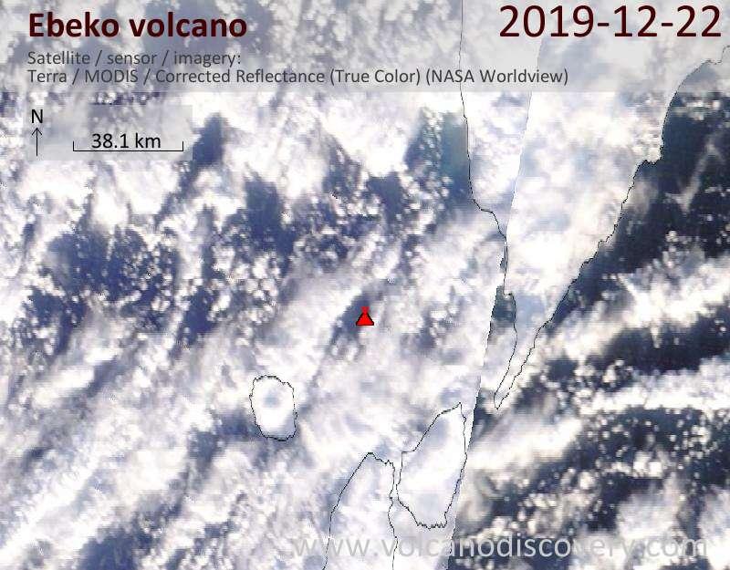 Satellite image of Ebeko volcano on 22 Dec 2019