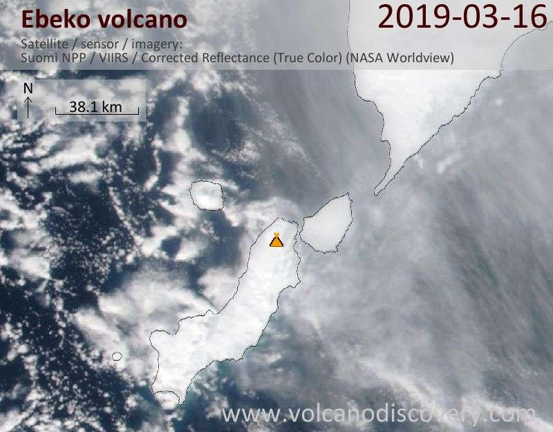 Satellite image of Ebeko volcano on 16 Mar 2019