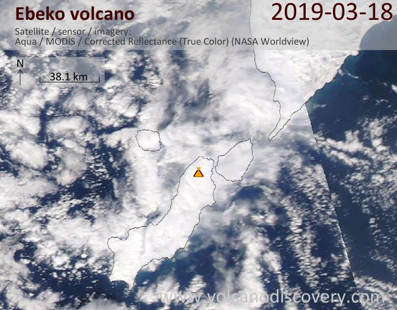 Satellite image of Ebeko volcano on 18 Mar 2019