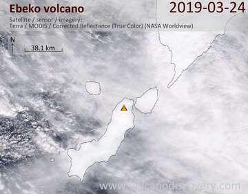 Satellite image of Ebeko volcano on 24 Mar 2019