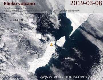 Satellite image of Ebeko volcano on  8 Mar 2019