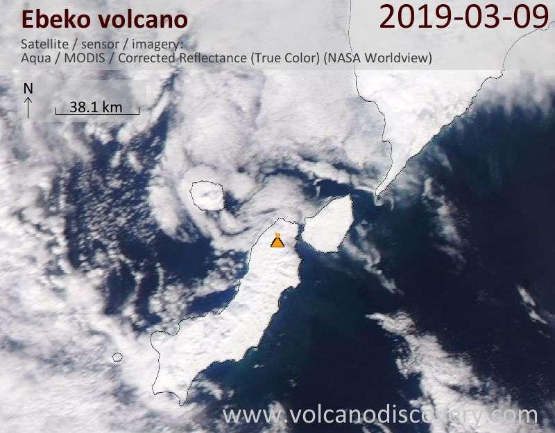 Satellite image of Ebeko volcano on  9 Mar 2019