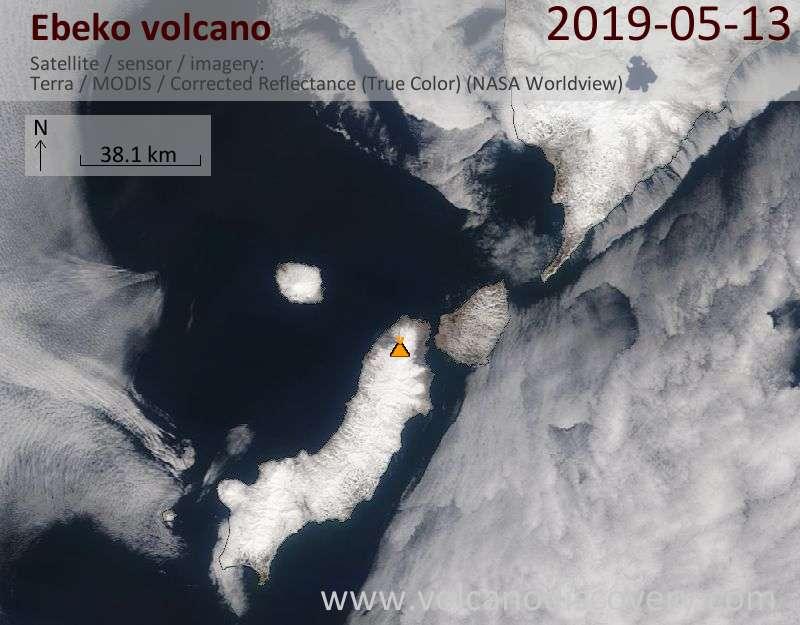 Satellite image of Ebeko volcano on 13 May 2019