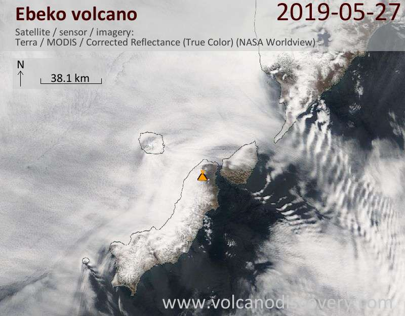 Satellite image of Ebeko volcano on 27 May 2019