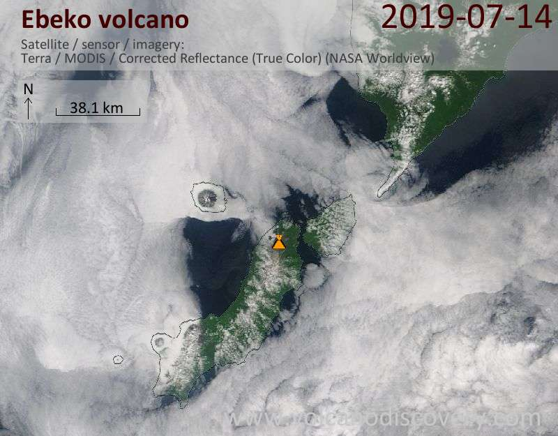Satellite image of Ebeko volcano on 14 Jul 2019