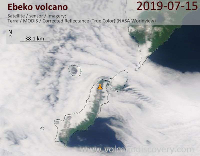 Satellite image of Ebeko volcano on 15 Jul 2019