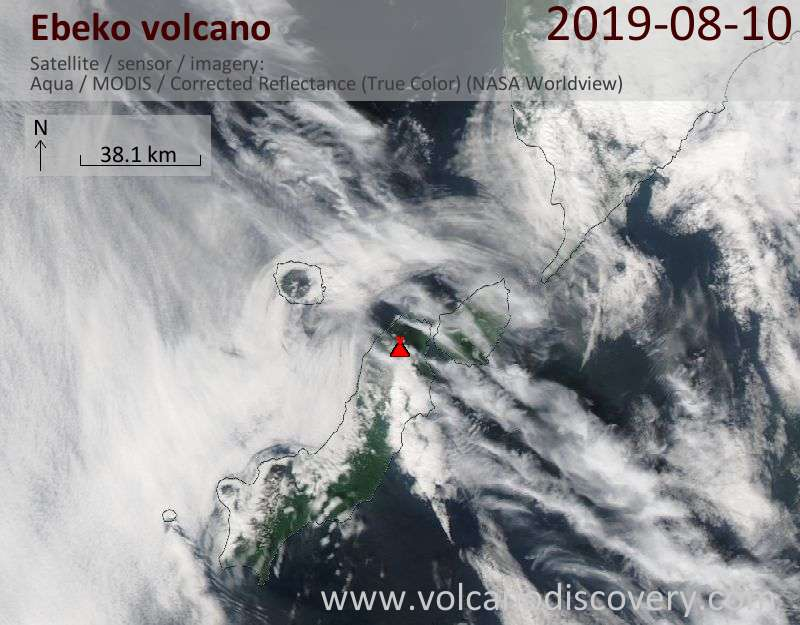 Satellite image of Ebeko volcano on 11 Aug 2019