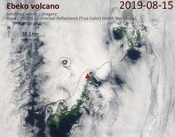 Satellite image of Ebeko volcano on 15 Aug 2019