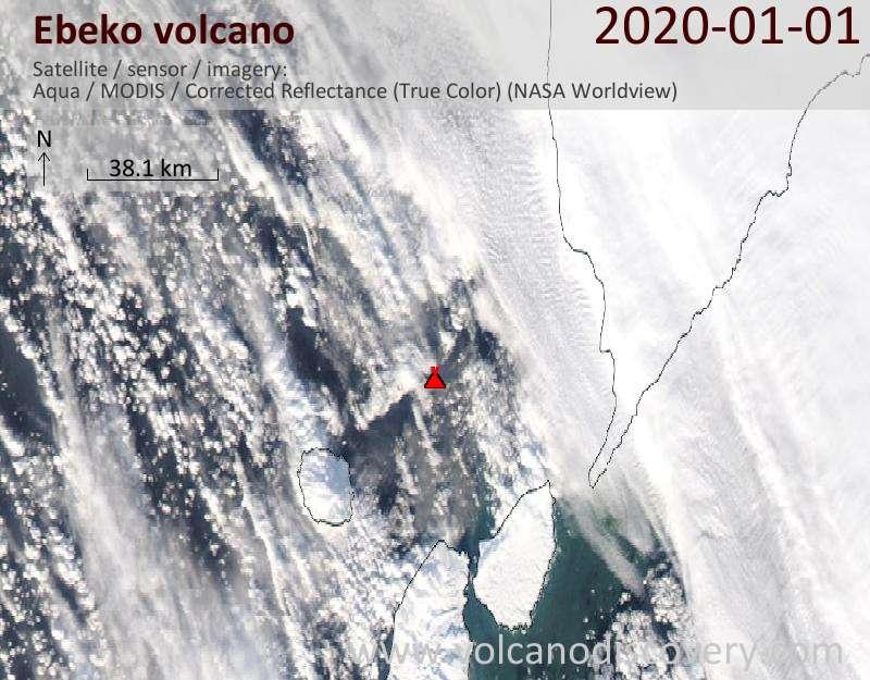 Satellite image of Ebeko volcano on  1 Jan 2020