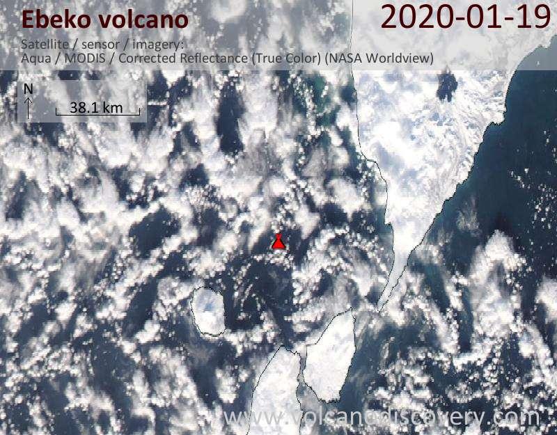 Satellite image of Ebeko volcano on 20 Jan 2020