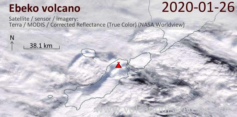 Satellite image of Ebeko volcano on 26 Jan 2020