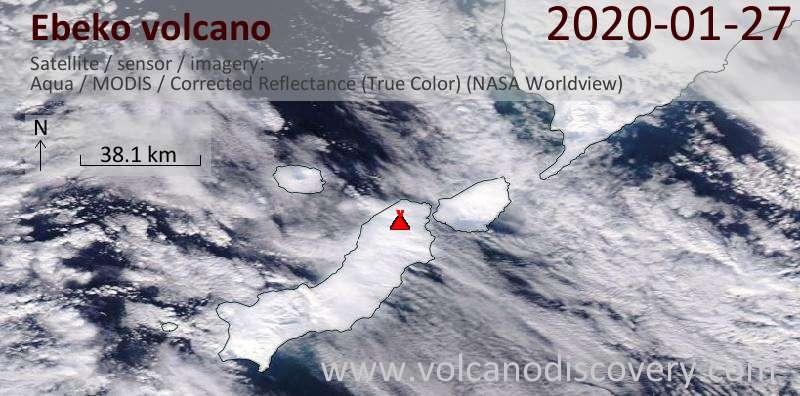 Спутниковое изображение вулкана Ebeko 27 Jan 2020