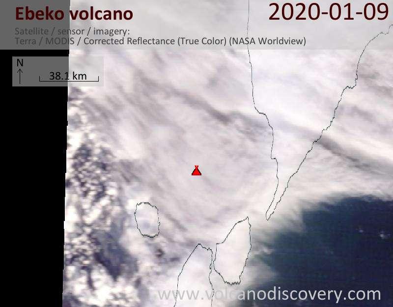 Satellite image of Ebeko volcano on  9 Jan 2020