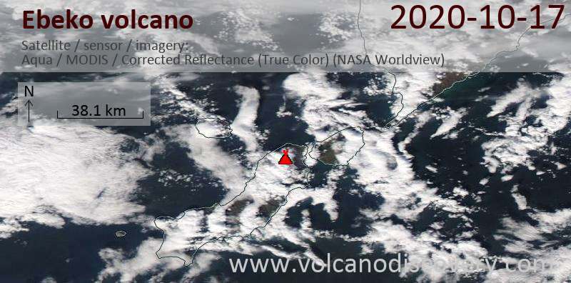 Satellitenbild des Ebeko Vulkans am 17 Oct 2020